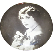Lovely Vintage Portrait Photo Button Lovely Lady