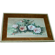 Shabby Chic Velvet Framed Decorative Signed Roses Picture