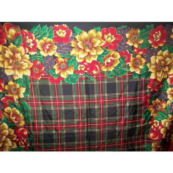 Pretty Vintage Large Signed Scarf Talbots Floral Plaid Motif Themed