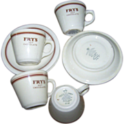 Advertising Restaurant Ware Fry' s Cocoa Cups & Saucers
