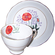 Pretty Vintage Poppy Floral Tea Cup Saucer Set Colclough