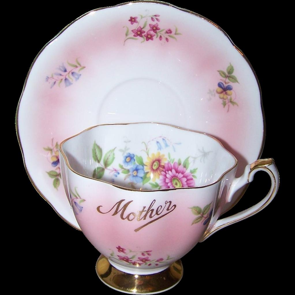 Souvenir Sentimental Mother Tea Cup Saucer Set  Queen Anne Floral