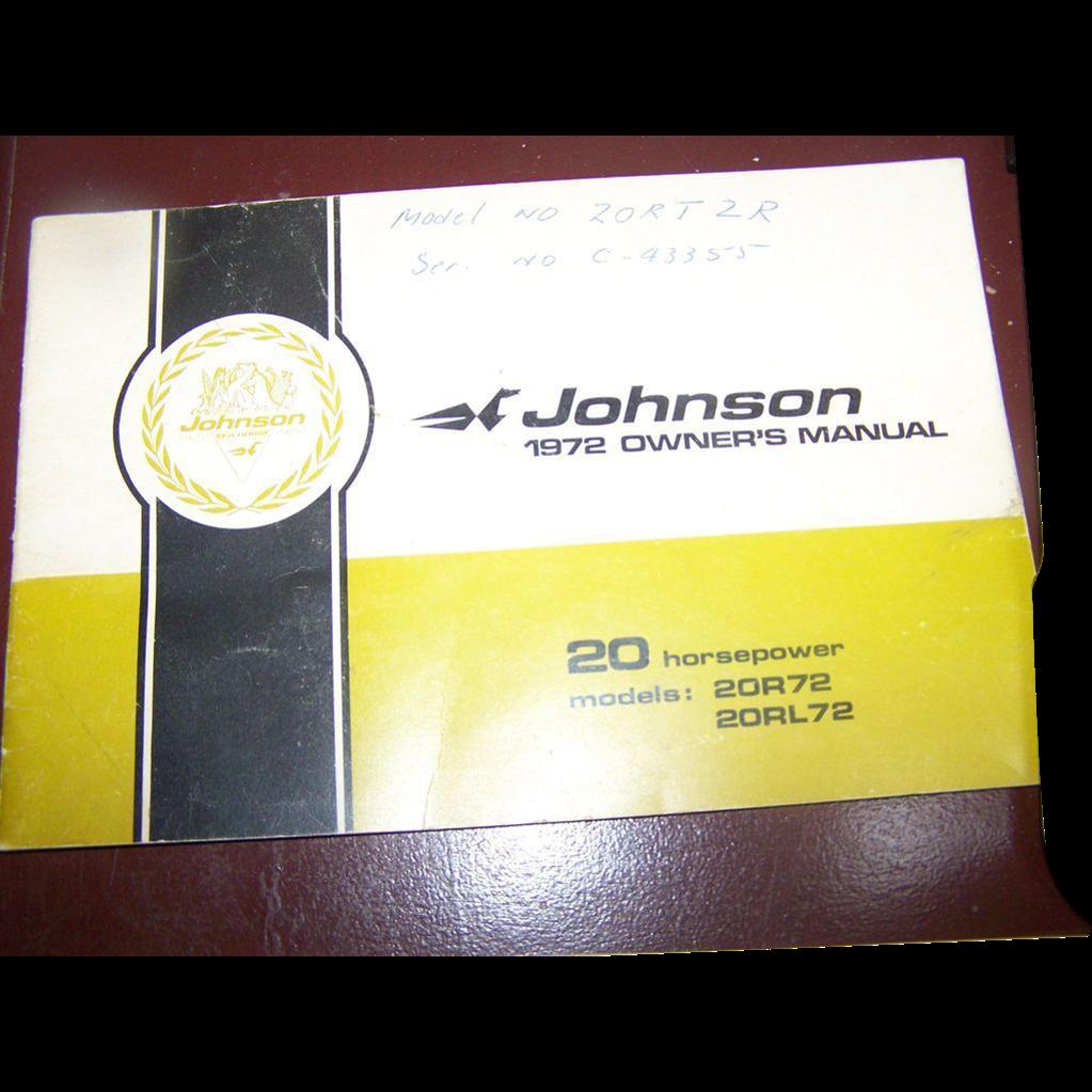 Johnson 1972 Owner's Manual Booklet 20 Horsepower