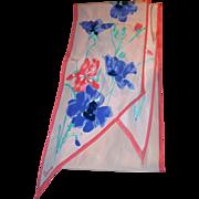 Vintage Designer Signed Vera Neumann Floral Wing Tip Scarf