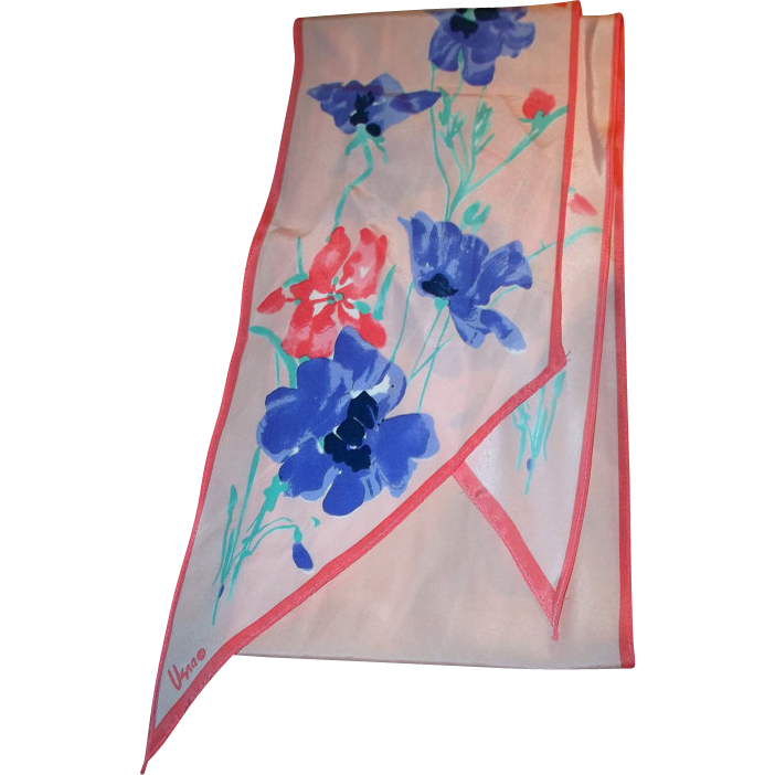 Lovely Long Vintage Designer Signed Vera Neumann Floral Wing Tip Scarf