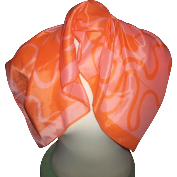 Pretty Orange  Signed Vera Neumann Scarf
