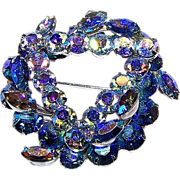 Wonderful Designer Signed KEYES Blue Rhinestone Brooch