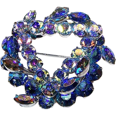 A Wonderful Designer Signed KEYES Blue Rhinestone Brooch / Pin