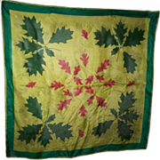 A Delicate Vintage Silk Scarf By Designer Vera Leaf  Leaves Pattern