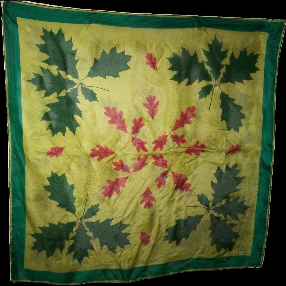 A Delicate Vintage Silk Scarf By Vera Leaf  Leaves Pattern