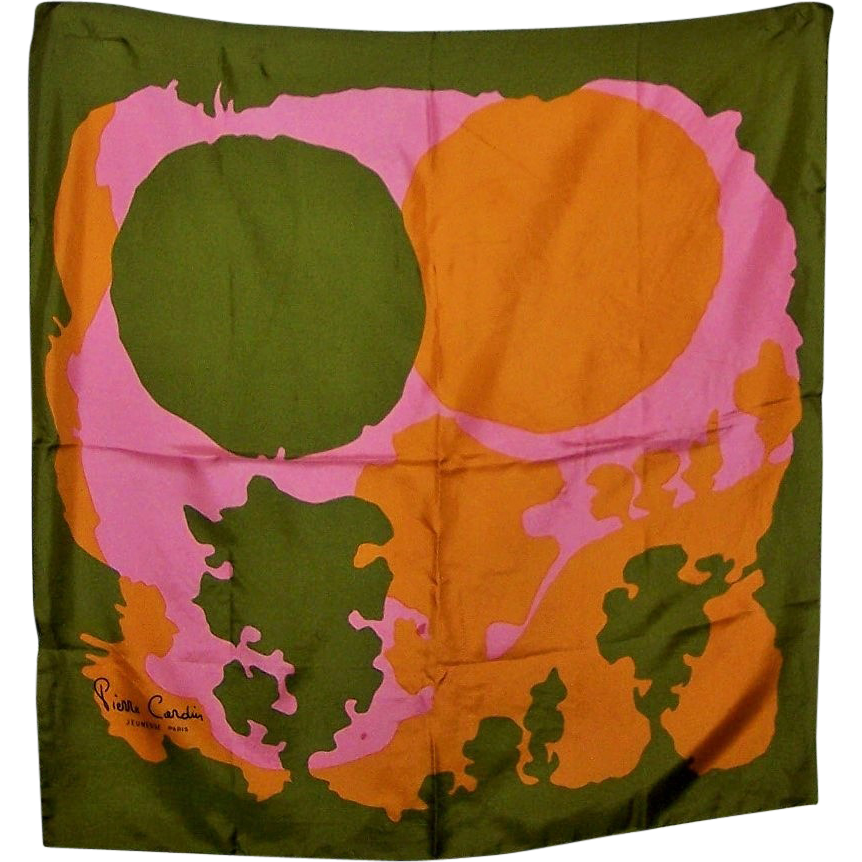C. 1960 to 70's Designer Pierre Cardin Jeunesse Paris Pop Art Scarf
