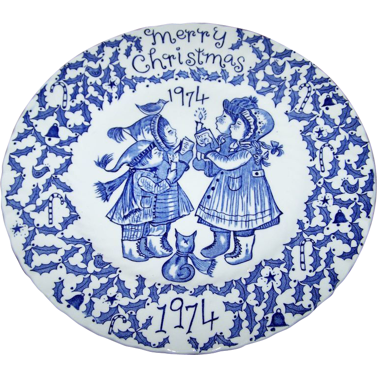 Blue & White Merry Christmas 1974  Crownford China Co Norma Sherman England