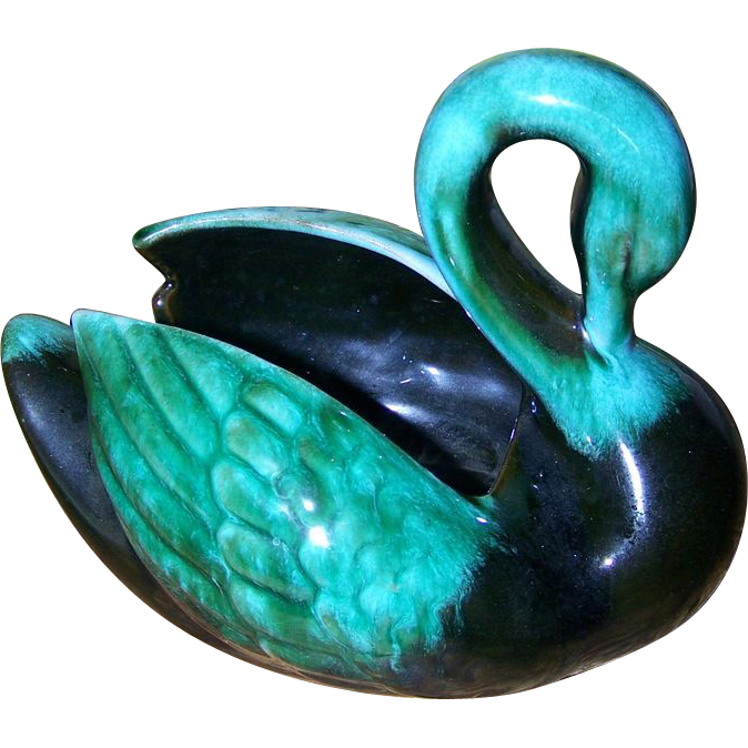 Wonderful  Retro Green BMP Blue Mountain Pottery Swan Figurine