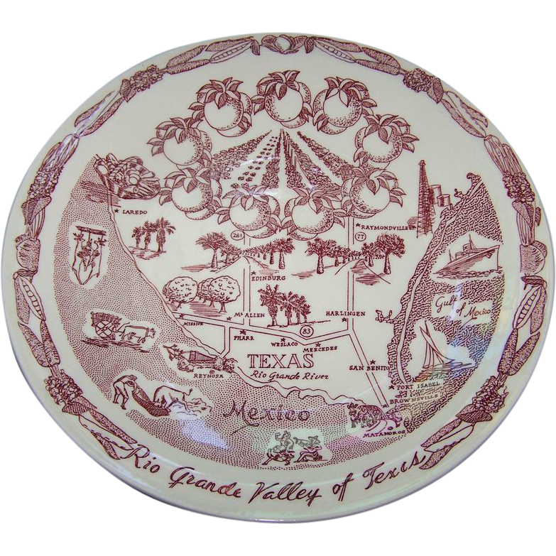 Souvenir Plate Rio Grande Valley of Texas Vernon Kilns USA