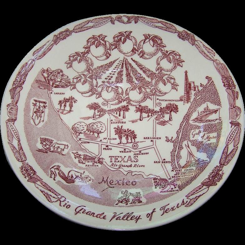 A Souvenir Plate Rio Grande Valley of Texas Vernon Kilns USA