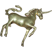 Whimsical Vintage Brass Unicorn Statue Figurine Home Decor Accent