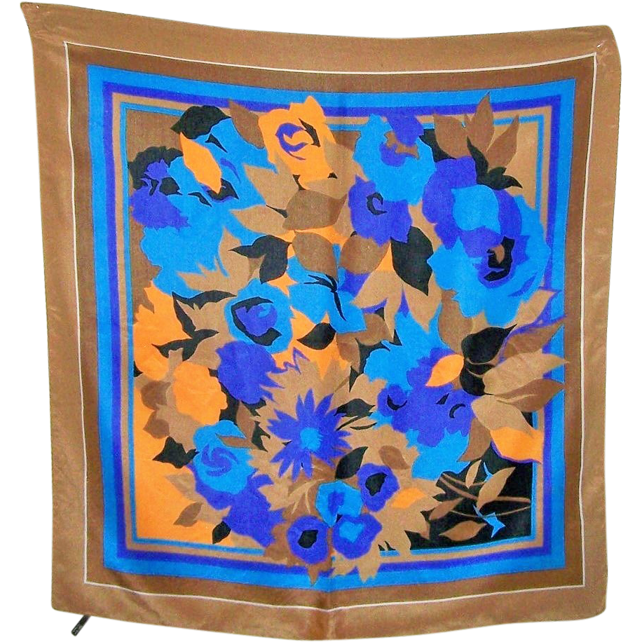 Such A Pretty Vintage Floral Motif Ladies  100 % Silk  Fashion Scarf