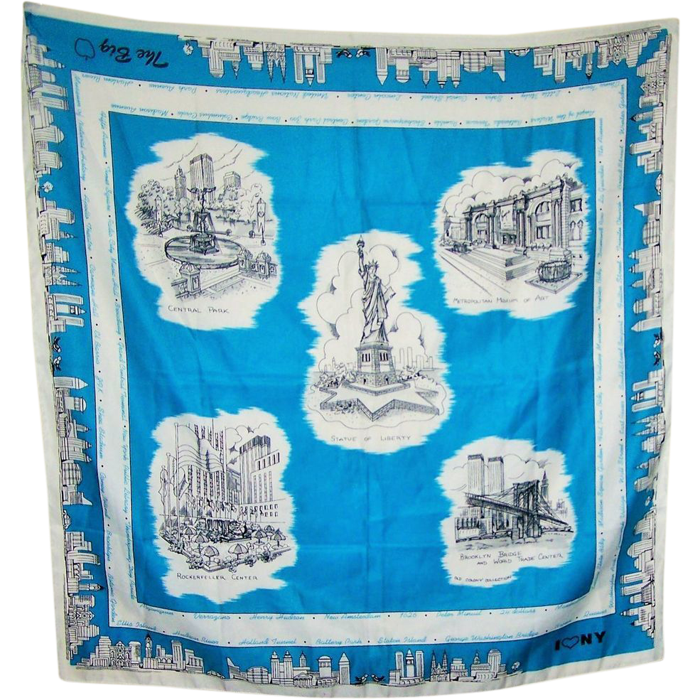 Souvenir Scarf The Big Apple New YorK I Love N.Y. Made in Ireland