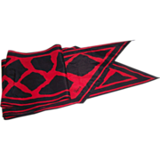 A Lovely Black & Red Designer Signed Vera  ( Neumann ) Wing Tip  Style Scarf