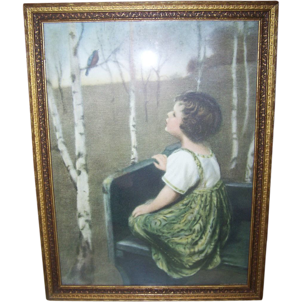 "Framed ""SPRING SONG"" Simon Glucklich Print Lithograph Columbian Colortype"