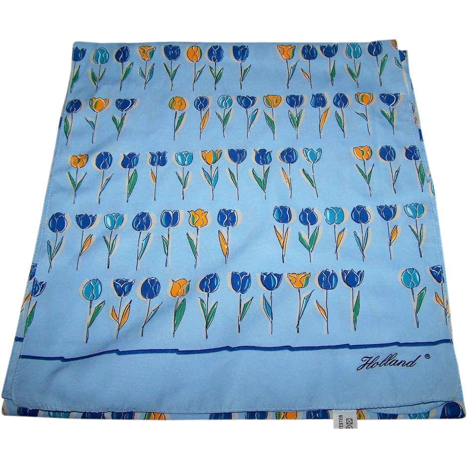 Oh What A Charming Vintage Signed Holland  R Tulip Flower Scarf Wearable ART