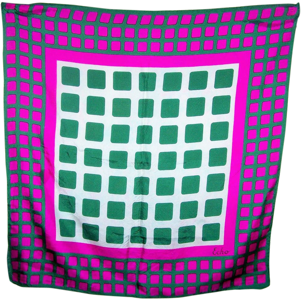 A Op Art Designer Signed ECHO Geometric Pattern  Ladies Mod Style Scarf