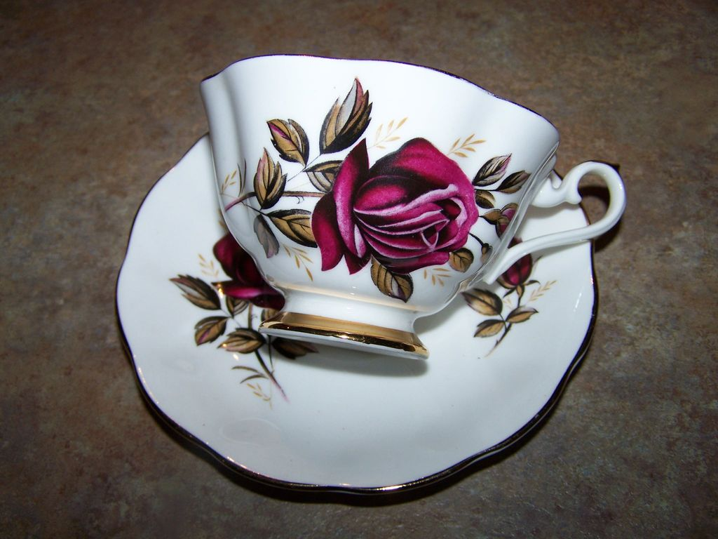 royal imperial fine bone china cup saucer rose motif from victoriasjems on ruby lane. Black Bedroom Furniture Sets. Home Design Ideas