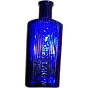 A Collectible Not To Be Taken Glass Cobalt Blue  POISON Bottle