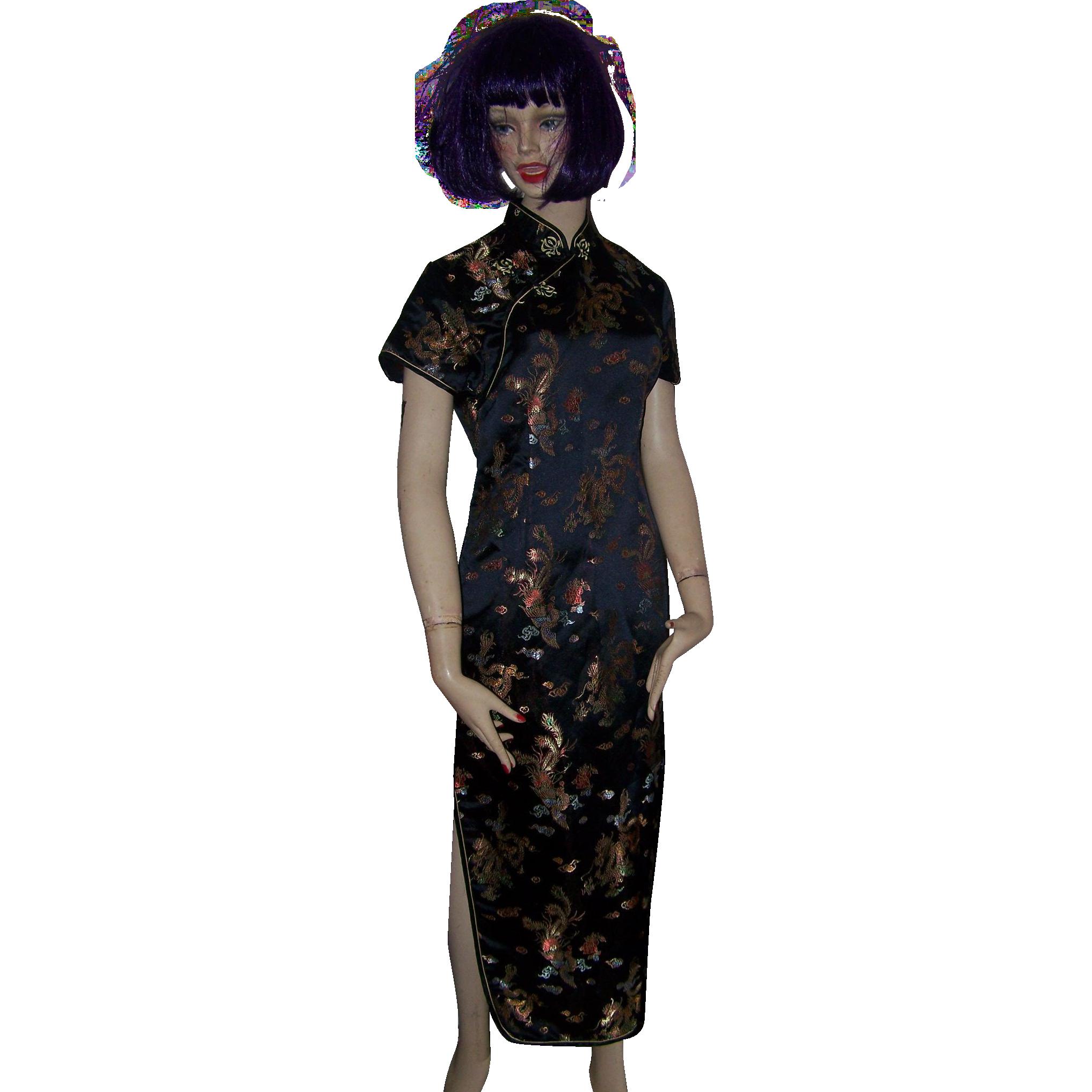 Kaiyu Embroidered Geisha Girl Dragon Cheongsam Dress Ladies Medium