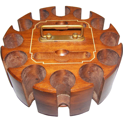 Vintage DRUEKE Wood Wooden Poker Chip Card Caddy Carousel