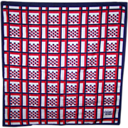 Patriotic Red White and Blue Designer Signed Lillian Vernon Scarf