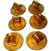 Set of 6 Vintage Duralex France Amber Glass Small Demi-Tasse Cup Saucer Sets