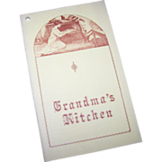 "Cook Book Cookbook Paperback "" Grandma's Kitchen ""  North Country Press"