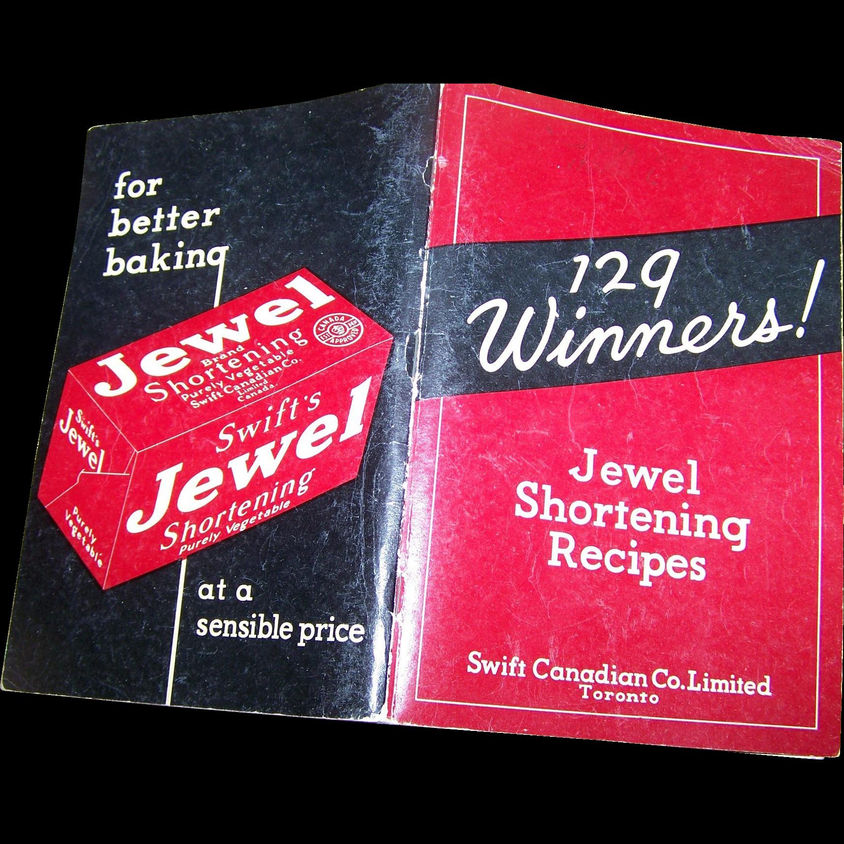 129 Winners ! Jewel Shortening Recipes Advertising Cook Book
