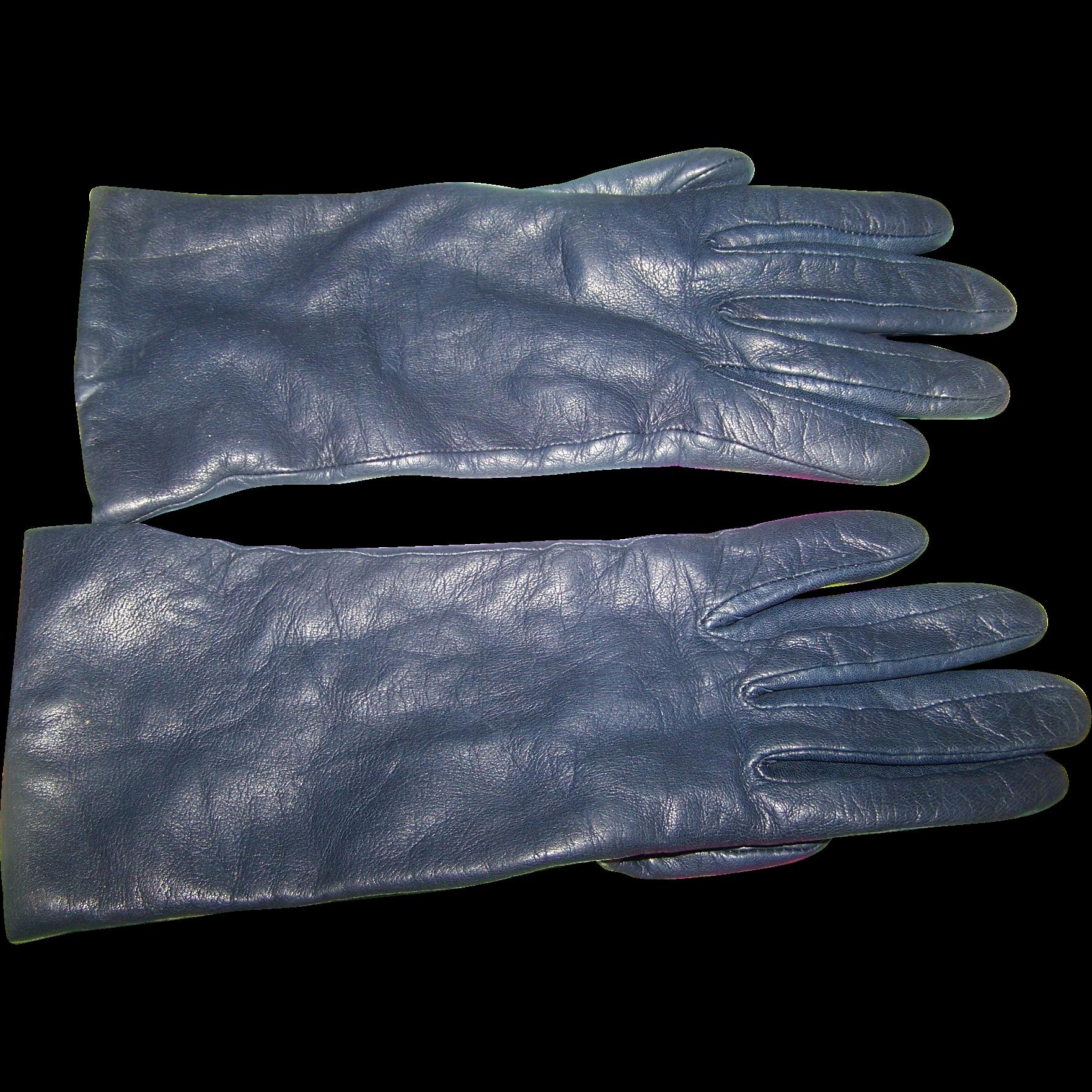Ladies leather gloves navy - Gently Used Vintage Navy Blue Ladies Leather Gloves From Eaton