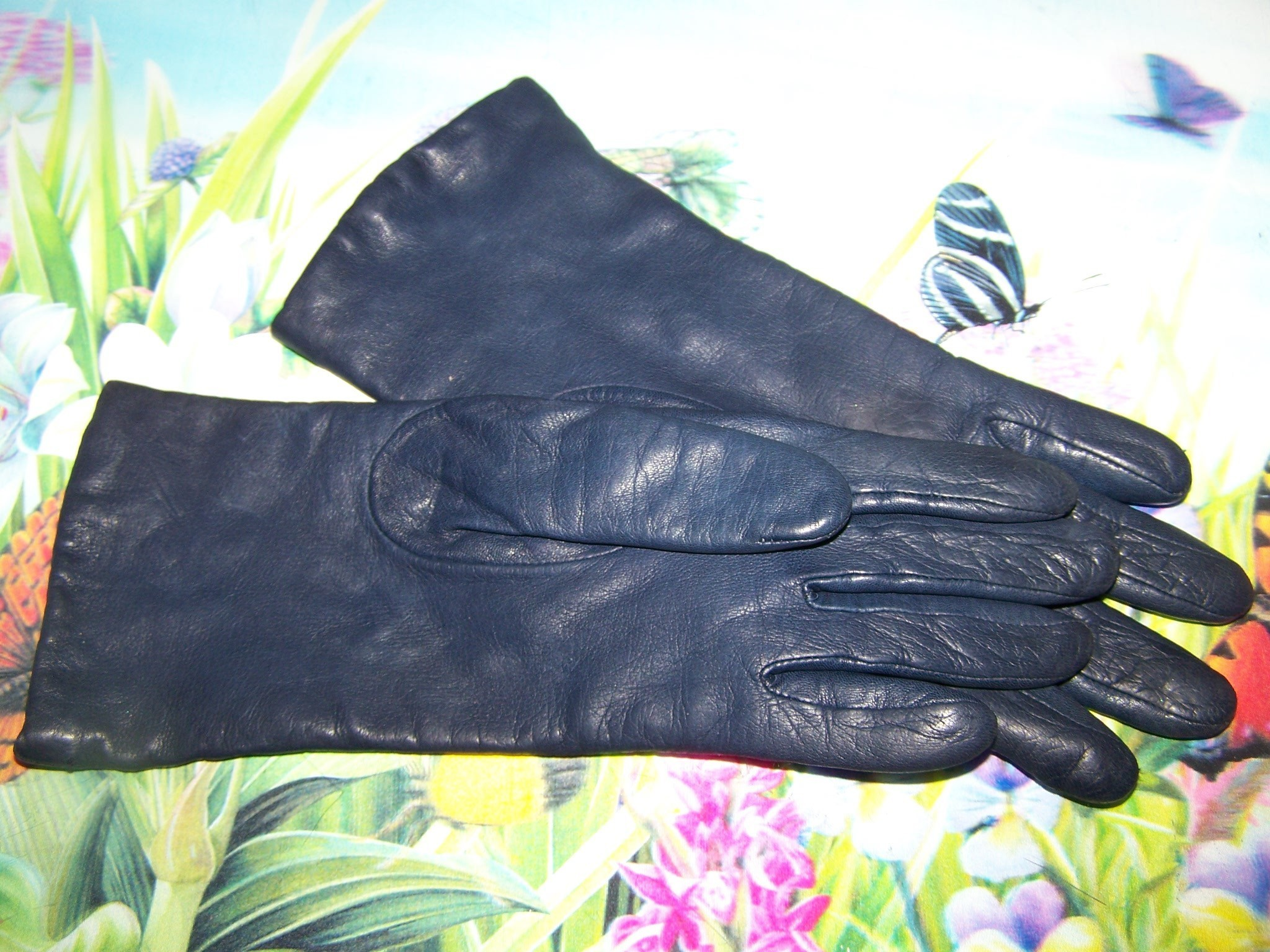 Ladies leather gloves blue - Roll Over Large Image To Magnify Click Large Image To Zoom