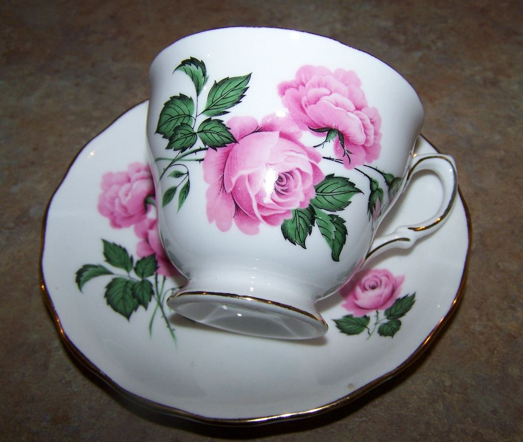 Pink Rose Floral Tea Cup & Saucer Royal Vale England