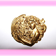 Art  Nouveau Era  Embossed Pin / Brooch Maiden Flowing Hair