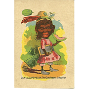 "Small Early Black Americana Playing Card "" Cantaloupe Melon , The Coachman's Daughter"