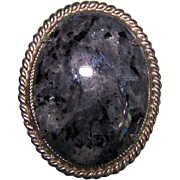 Vintage Polished Quartz Granite Stone Brooch