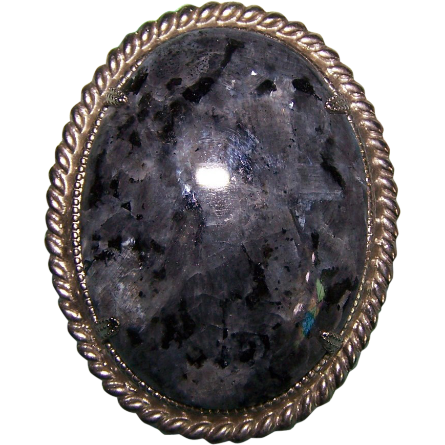 Vintage Polished Quartz Granite Stone Brooch