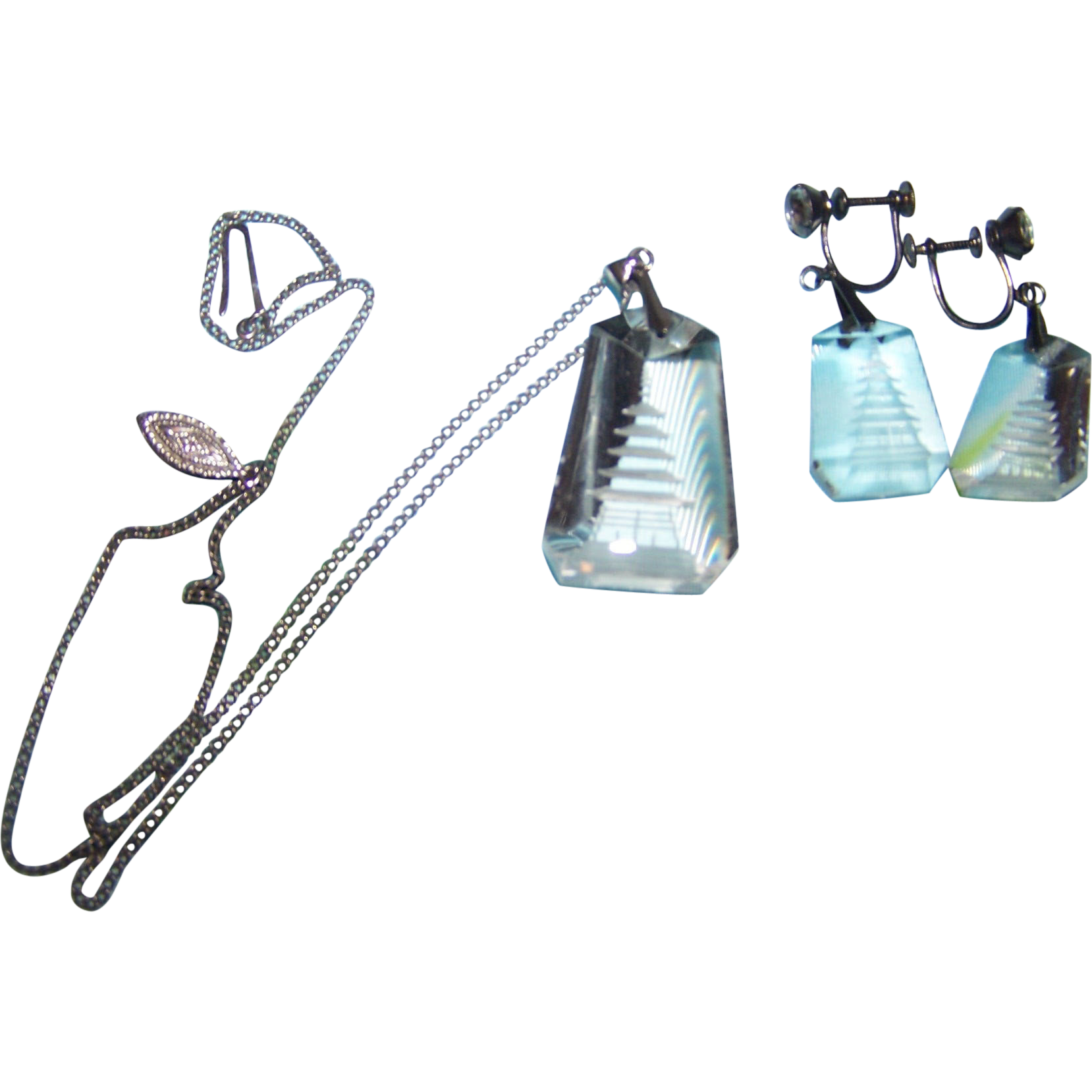 Deco Style Reverse Carved Rock Crystal Pagoda Demi-Parure Necklace Earring Set
