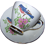 Oh Such A Sweet  Vintage Sutherland Blue Bird Pink Floral Tea Cup Saucer Set England