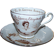 Souvenir Historical Tea Cup Saucer Set  Tuscan China England 1959 St Lawrence Seaway Queen Elizabeth CANADA