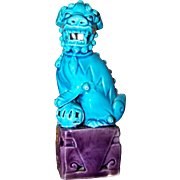 Small Vintage Turquoise Blue   Ceramic Figural Foo Lion Fu Dog Figurine Statue