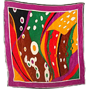 A Bright And Colorful Vintage Pop Art Silk Scarf  Wow