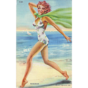 "Collectible Vintage  Post Card Curt Teich & Co Inc  "" VIVACIOUS ""  Cheesecake Risque Swimsuit Model"