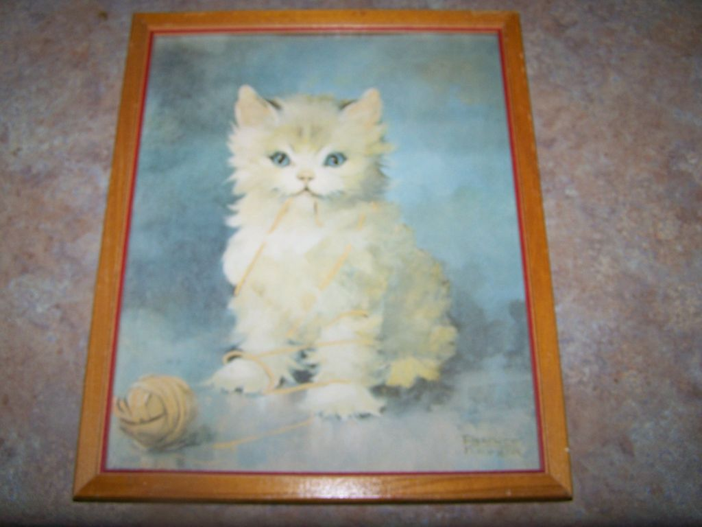 Framed Kitty Cat Kitten Print Signed Florence Kroger