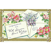 Vintage Good Wishes  Postcard Post Card  Floral Swaztika Ancient Cross