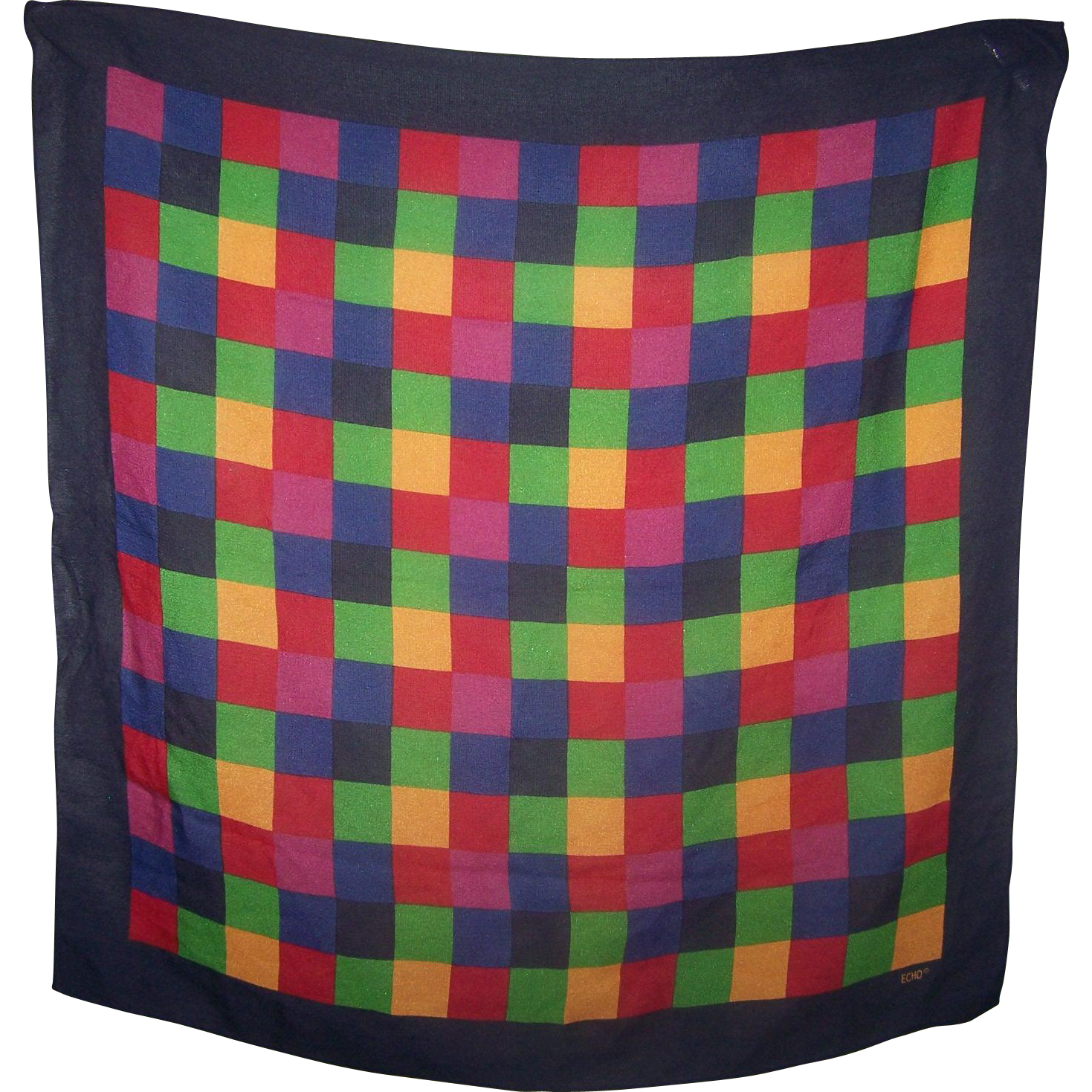 Vintage Ladies Fashion Scarf Signed Echo Colorful Checker Pattern